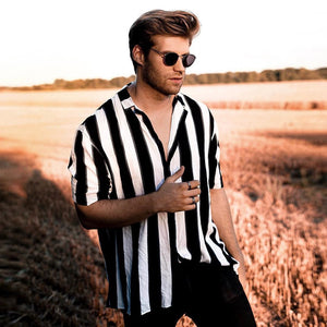 New Fashion Black And White Striped Casual Shirt