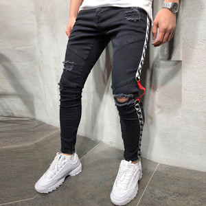 Hole Slim Denim Trousers With Zipper Pocket