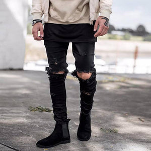 Fashion Slim Fit Broken Hole Jeans