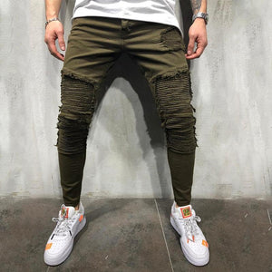 Men's Army Green Pleated Shredded Jeans Casual Denim Trousers