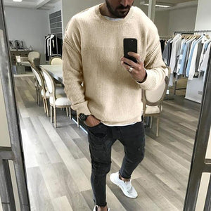 Men's Simple Round Neck Pure Colour Sweater