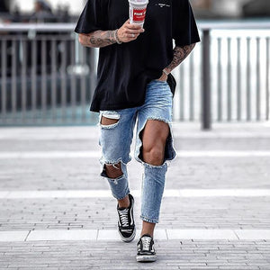 Street Fashion Broken Hole Straight Type Jeans