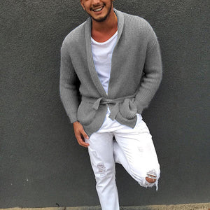 Men's Casual Pure Colour Belted Knit Cardigan