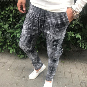 Checked Pocket Drawstring Casual Pants