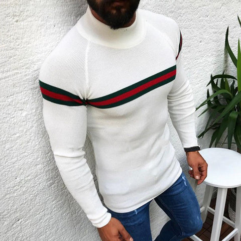Casual Contrast Color Stripe High Collar Sweater