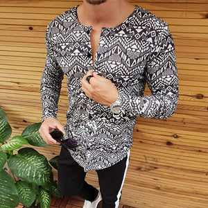 Retro Single Breasted Printed Colour Long Sleeve T-Shirt