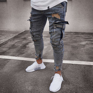 Street Hole Zip Pocket Jeans