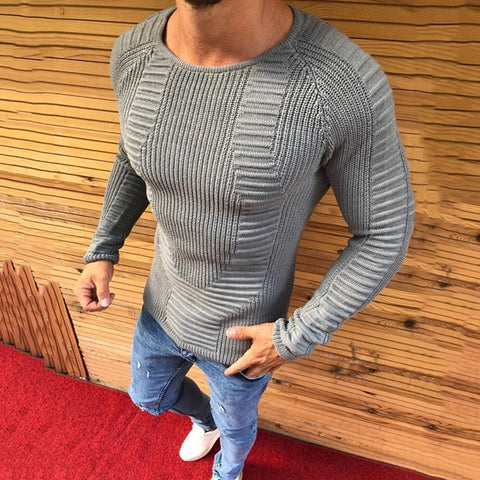 Simple Casual Slim Round Neck Sweater