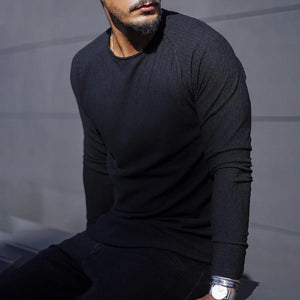 Men's fashion solid color round neck sweater