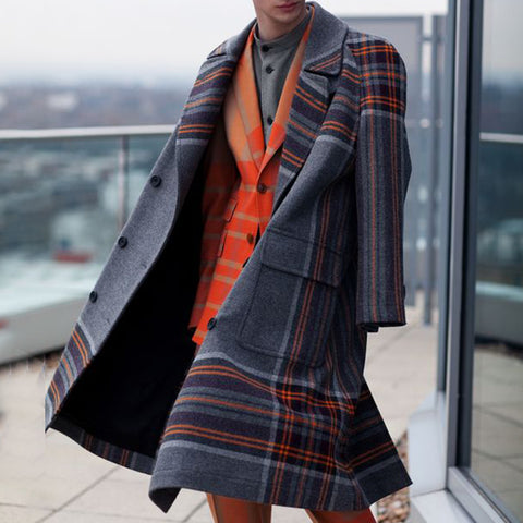Individuality Fashion Multicolor Pattern Mid-Length Woolen Coat