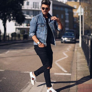Casual Fashion Slim Solid Color Long Sleeve Men Denim Jacket Outerwear