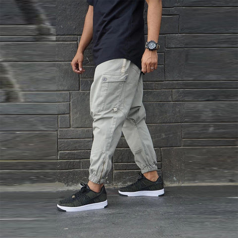 Casual solid color pocket slim pants