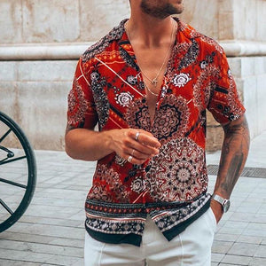 Fashion Printed Stand Collar Short Sleeve Shirts