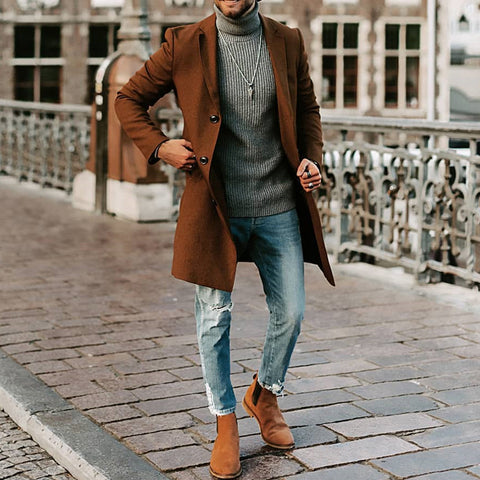 Casual brief long sleeves solid colour suit collar coat