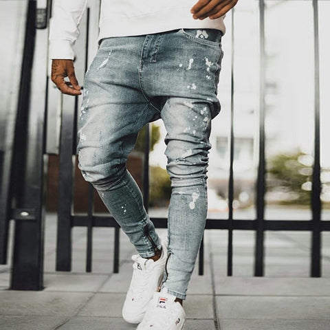 Men's Fashion Splashing Tight Skinny Jeans