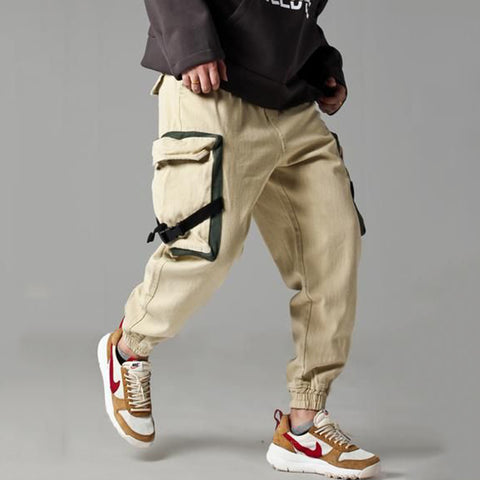 Casual solid color with lid pocket loose men's trousers