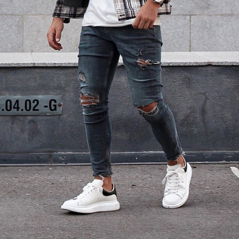 Street Fashion Broken Hole Tight Fit Jeans