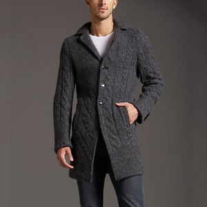 Casual Pure Color Long Sleeve Lapel Overcoat