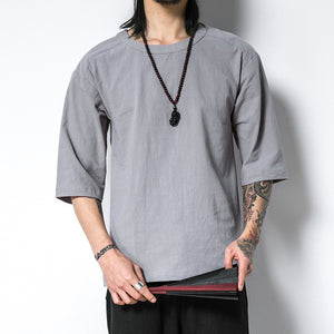 Casual Brief Solid Color Half Sleeve Round Neck T-Shirt