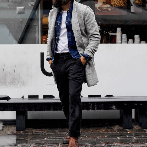Men's Solid Color Brief Grey Coat