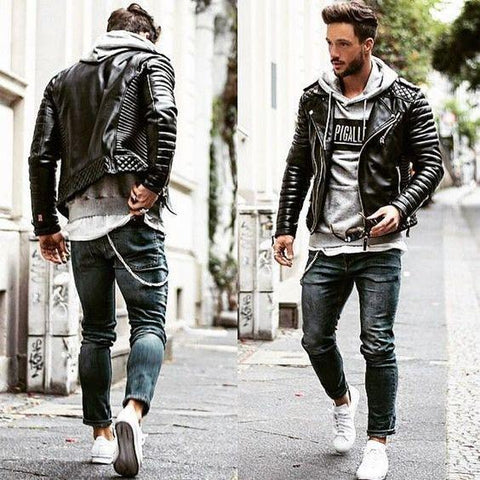 Compressed Cotton Locomotive Leather Jacket