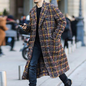 Colorful Plaid Lapel Long Coat