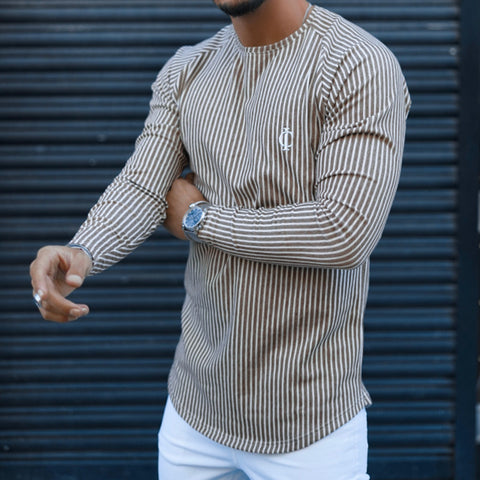 Men's Fashion Vertical Stripe Long Sleeve T-Shirt