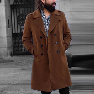 Men's Caramel Brown Double-breasted Medium Length Coat