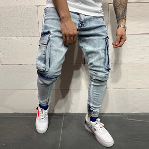 Men's Pocket Splicing Tights Denim Jeans