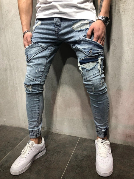 Small feet jeans knees trousers zipper pull pants