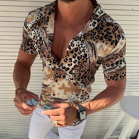 Minimalist Men's Fashion Leopard Print Short Sleeve Shirts