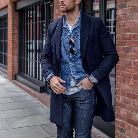 Men's Blue Solid Color Double Breasted Casual Long Coat