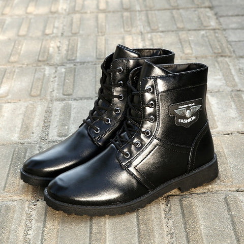 Fashion Men's Trends Black Lace Martin Boots