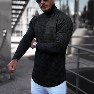 Male Fashion Check High-necked Long-sleeved T-shirt