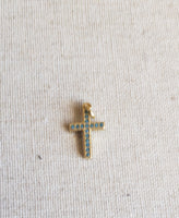 Blingy Turquoise Cross (Gold)