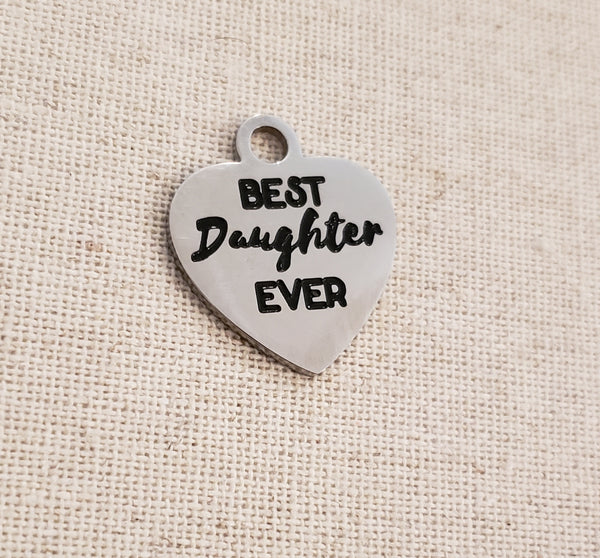 Best Daughter Ever Heart Charm (Silver)
