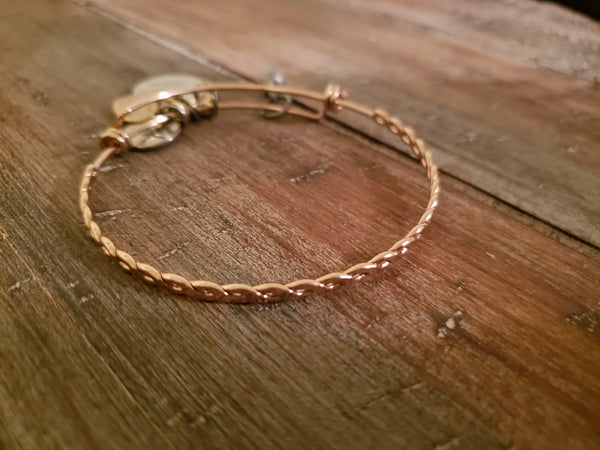 Rose Gold Stainless Steel Twisted Bangle