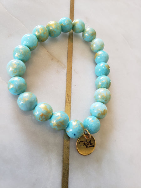 Gold Brushed Turquoise Bracelet