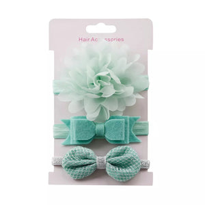 3 piece Floral Bowknot Elastic Hair Band for Girl