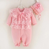 Luxury Baby Girl Lace  Designer Jumpsuit  And Hat