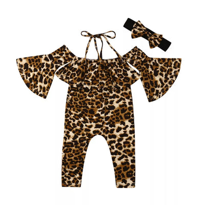 Adorable Bella Girl Off shoulder Stripe Leopard  jumpsuit