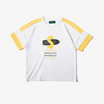 Skateboard Printed Short Sleeve Tee For Boys (Yellow)