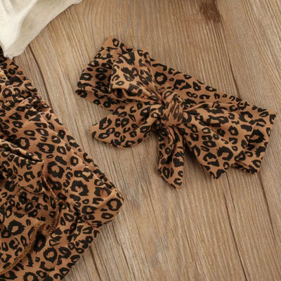 Melia Long Sleeve Ruffl Leopard Design Outfit set