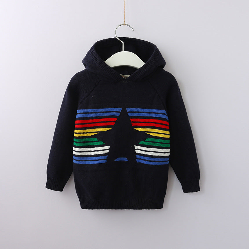 Trendy Stripes Star Hooded Sweater for Toddler boy