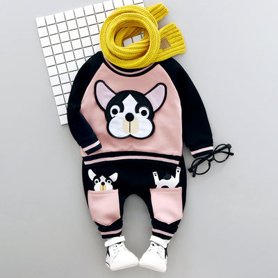 Adorable Dog Long Sleeve  print 2 pieces set