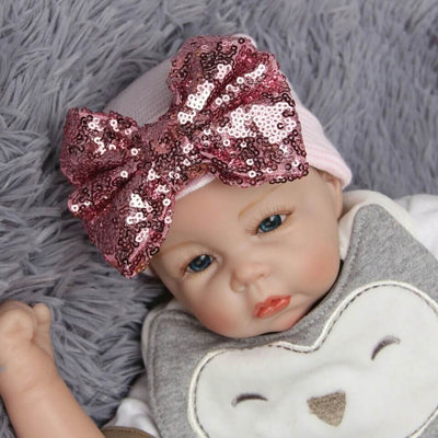 Newborn Baby Girl Sequined Bowknot Beanie Hat Knit Hat