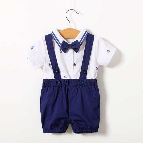 Chi Baby Gentlemanly Top and Suspender Shorts Se