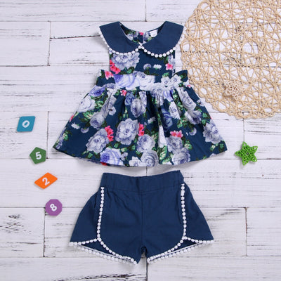 Baby/ Toddlers 2- Piece Fashionable Floral Top And Plain Shor