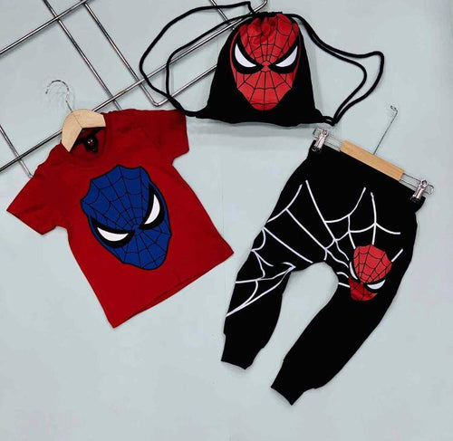 Spideman Man  Tee,  Pant And Bag  Set