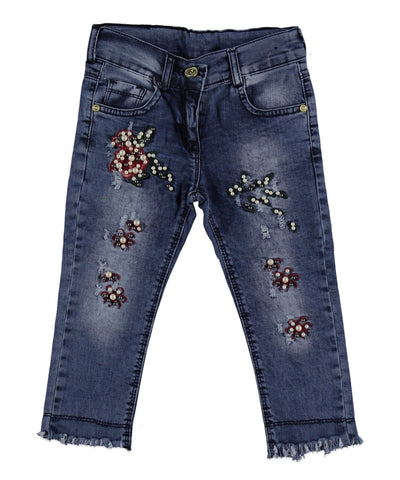 ANI SPARKLING EMBELLISHED RIPPED DENIM JEAN